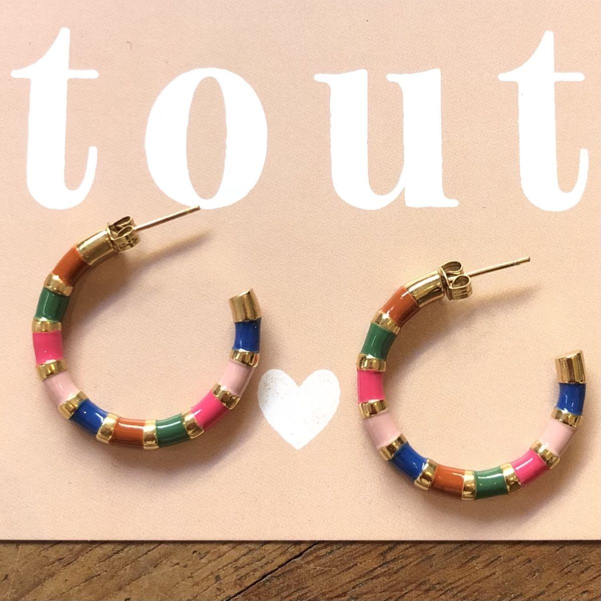 By Destele boucles d'oreilles créoles multicolores et dorées