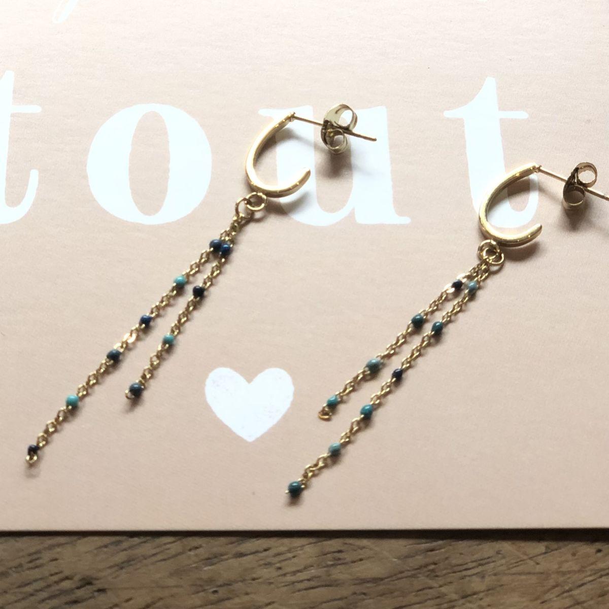 By Destele boucles d'oreilles fines chaînes et perles