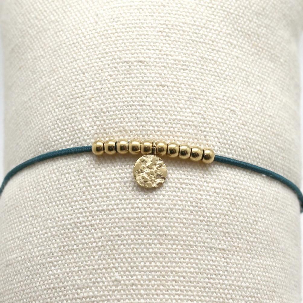 By Destele bracelet élastique bleu canard et noeud coulissant perles dorées en acier inoxydable