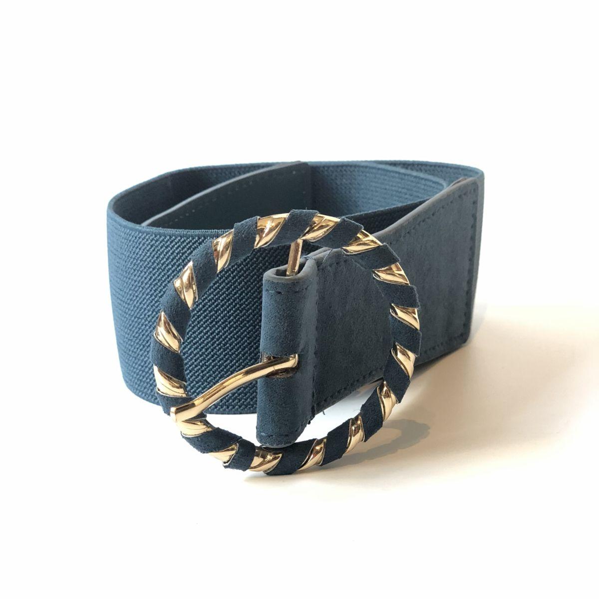 By Destele ceinture élastique bleu canard boucle ronde dorée