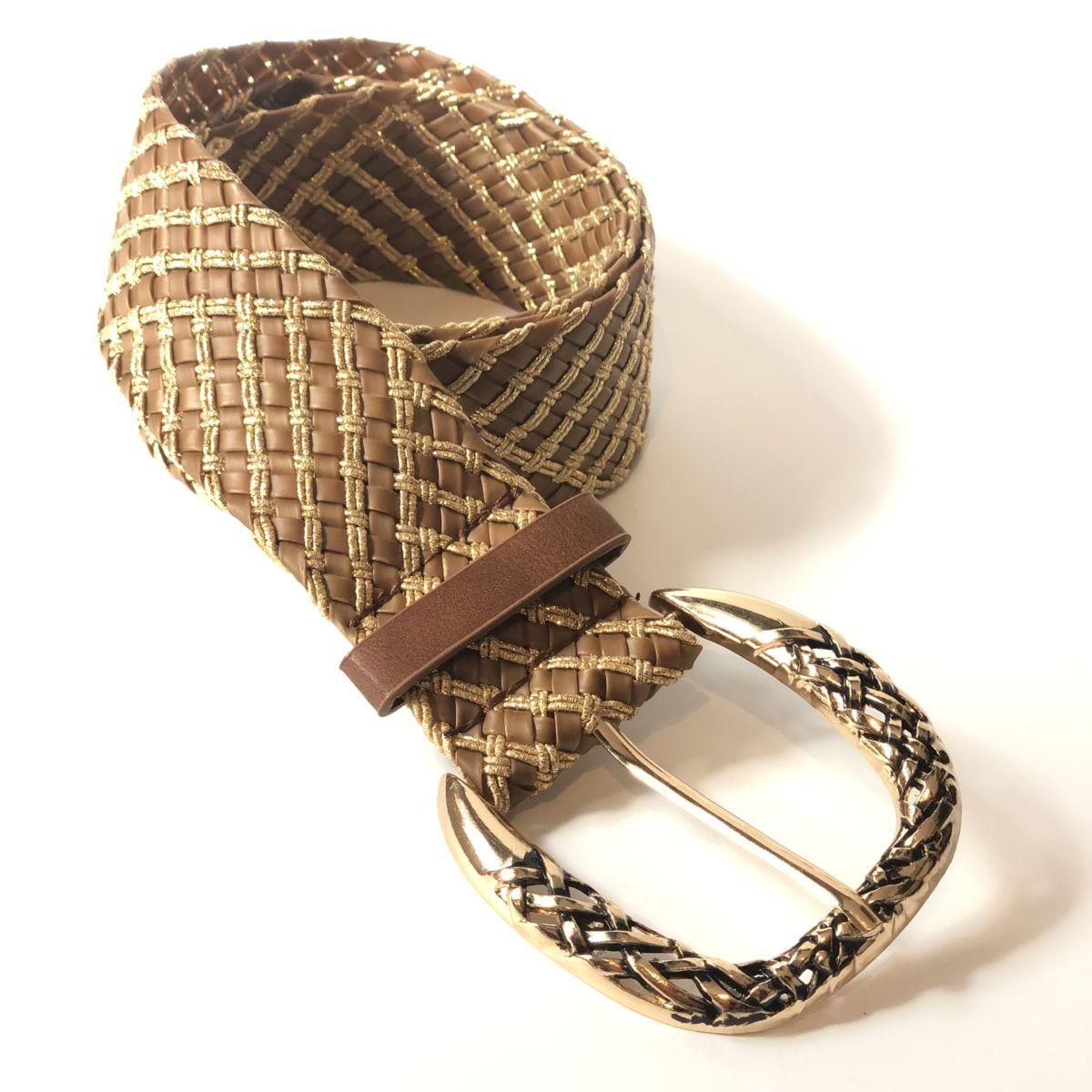 By Destele ceinture camel et gold grosse boucle adaptable