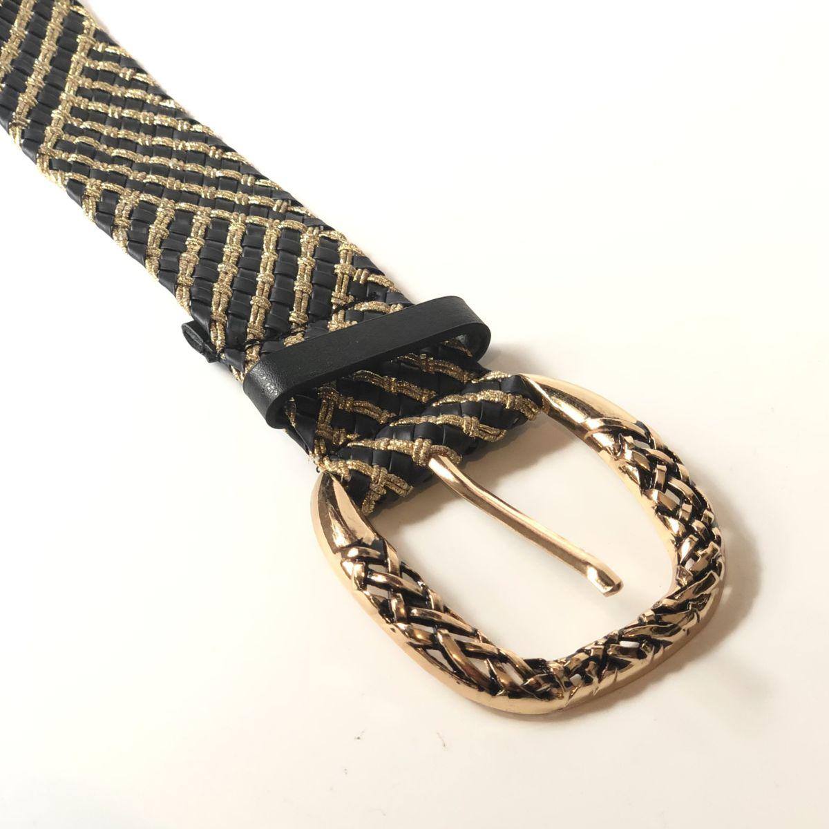 By Destele ceinture noire et gold grosse boucle adaptable