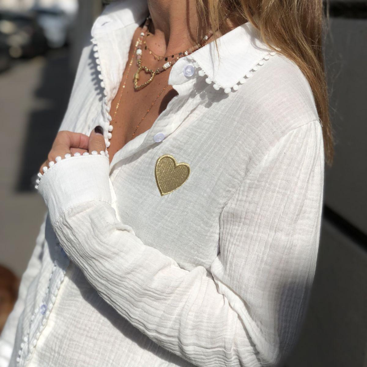By Destele chemise blanche coton coeur doré